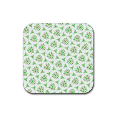 Sweet Doodle Pattern Green Rubber Coaster (square)