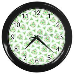 Sweet Doodle Pattern Green Wall Clocks (black)
