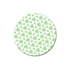 Sweet Doodle Pattern Green Magnet 3  (round)