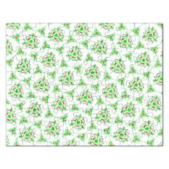 Sweet Doodle Pattern Green Rectangular Jigsaw Puzzl