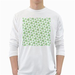 Sweet Doodle Pattern Green White Long Sleeve T-Shirts