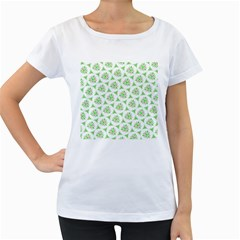 Sweet Doodle Pattern Green Women s Loose-Fit T-Shirt (White)
