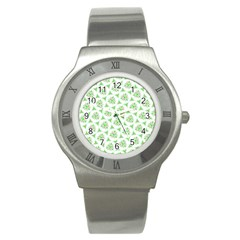 Sweet Doodle Pattern Green Stainless Steel Watches