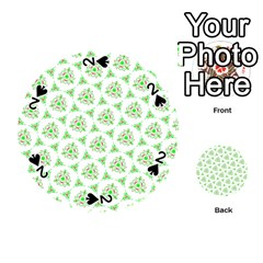 Sweet Doodle Pattern Green Playing Cards 54 (Round)
