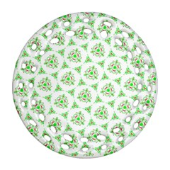 Sweet Doodle Pattern Green Ornament (Round Filigree)