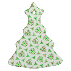 Sweet Doodle Pattern Green Christmas Tree Ornament (2 Sides)