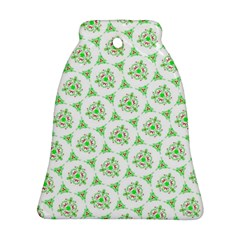 Sweet Doodle Pattern Green Bell Ornament (2 Sides)