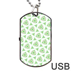 Sweet Doodle Pattern Green Dog Tag Usb Flash (one Side)