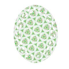 Sweet Doodle Pattern Green Oval Filigree Ornament (2-Side)