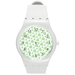 Sweet Doodle Pattern Green Round Plastic Sport Watch (m)