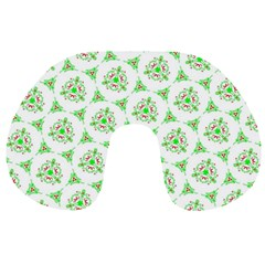 Sweet Doodle Pattern Green Travel Neck Pillows