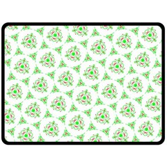 Sweet Doodle Pattern Green Double Sided Fleece Blanket (large)