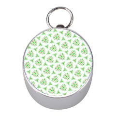 Sweet Doodle Pattern Green Mini Silver Compasses