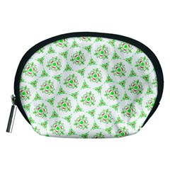 Sweet Doodle Pattern Green Accessory Pouches (Medium)