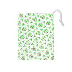 Sweet Doodle Pattern Green Drawstring Pouches (medium)