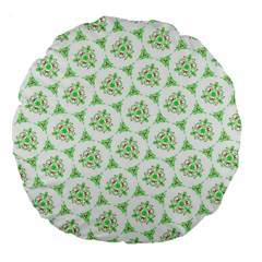 Sweet Doodle Pattern Green Large 18  Premium Flano Round Cushions