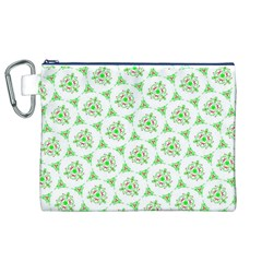 Sweet Doodle Pattern Green Canvas Cosmetic Bag (XL)