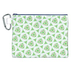 Sweet Doodle Pattern Green Canvas Cosmetic Bag (XXL)