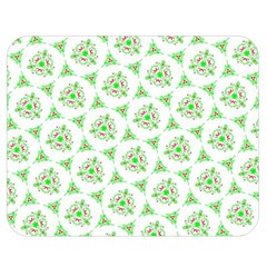 Sweet Doodle Pattern Green Double Sided Flano Blanket (Medium)