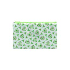 Sweet Doodle Pattern Green Cosmetic Bag (xs)