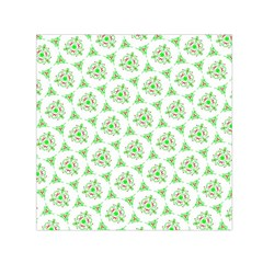 Sweet Doodle Pattern Green Small Satin Scarf (Square)