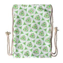Sweet Doodle Pattern Green Drawstring Bag (Large)
