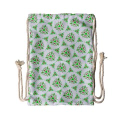 Sweet Doodle Pattern Green Drawstring Bag (Small)