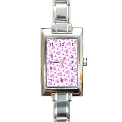 Sweet Doodle Pattern Pink Rectangle Italian Charm Watches