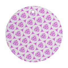 Sweet Doodle Pattern Pink Ornament (Round)