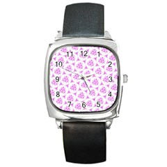 Sweet Doodle Pattern Pink Square Metal Watches