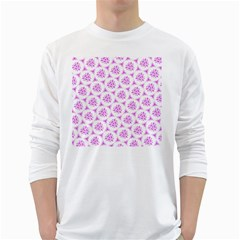 Sweet Doodle Pattern Pink White Long Sleeve T Shirts