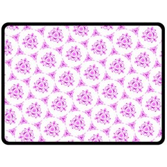 Sweet Doodle Pattern Pink Fleece Blanket (large)