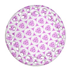 Sweet Doodle Pattern Pink Round Filigree Ornament (2side)