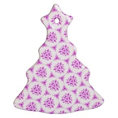 Sweet Doodle Pattern Pink Christmas Tree Ornament (2 Sides)