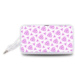 Sweet Doodle Pattern Pink Portable Speaker (White)