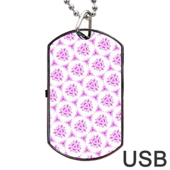 Sweet Doodle Pattern Pink Dog Tag USB Flash (One Side)