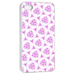 Sweet Doodle Pattern Pink Apple iPhone 4/4s Seamless Case (White)