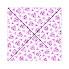 Sweet Doodle Pattern Pink Acrylic Tangram Puzzle (6  x 6 )