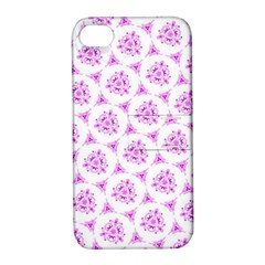 Sweet Doodle Pattern Pink Apple iPhone 4/4S Hardshell Case with Stand