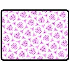 Sweet Doodle Pattern Pink Double Sided Fleece Blanket (large)