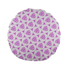 Sweet Doodle Pattern Pink Standard 15  Premium Flano Round Cushions