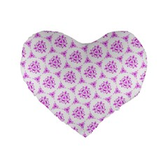 Sweet Doodle Pattern Pink Standard 16  Premium Flano Heart Shape Cushions