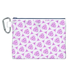 Sweet Doodle Pattern Pink Canvas Cosmetic Bag (L)