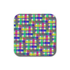Doodle Pattern Freedom  Rubber Coaster (square)