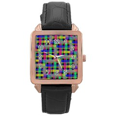 Doodle Pattern Freedom Black Rose Gold Watches