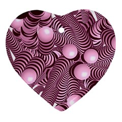 Doodle Fun Pink Heart Ornament (2 Sides)