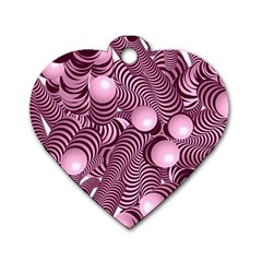 Doodle Fun Pink Dog Tag Heart (two Sides)