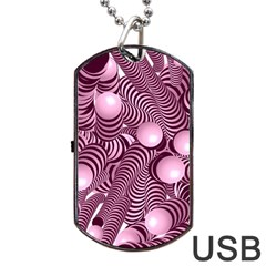 Doodle Fun Pink Dog Tag USB Flash (Two Sides)