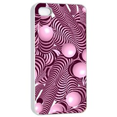 Doodle Fun Pink Apple iPhone 4/4s Seamless Case (White)