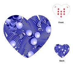 Doodle Fun Blue Playing Cards (heart)